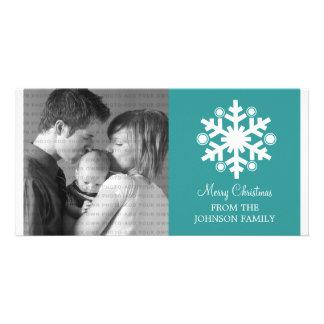 Modern Snowflake Holiday Photo Card, Teal