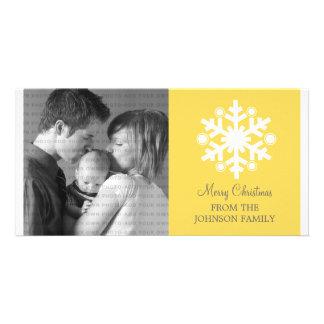 Modern Snowflake Holiday Photo Card, Yellow