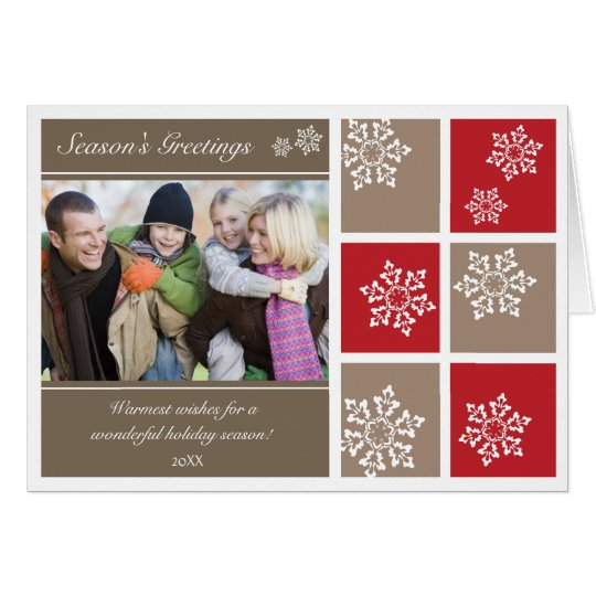 Modern Snowflakes Holiday Card (red & grey)