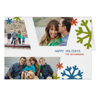 Modern Snowflakes Non-Traditional Holiday Folded Card