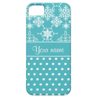 Modern Snowflakes Polka Dots Personalized Barely There iPhone 5 Case
