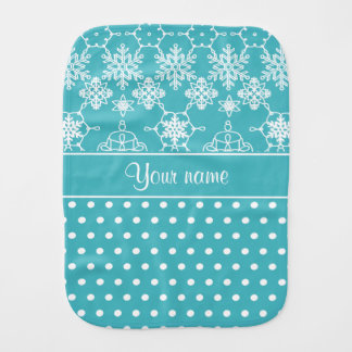Modern Snowflakes Polka Dots Personalized Burp Cloth