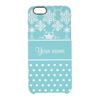 Modern Snowflakes Polka Dots Personalized Clear iPhone 6/6S Case