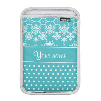 Modern Snowflakes Polka Dots Personalized iPad Mini Sleeve
