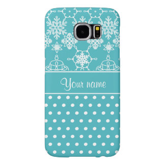 Modern Snowflakes Polka Dots Personalized Samsung Galaxy S6 Cases