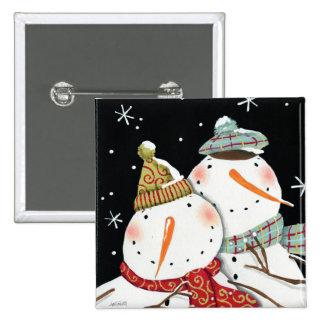 Modern Snowmen Smiles 15 Cm Square Badge