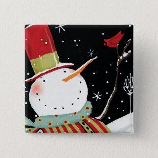Modern Snowmen Winter Home 15 Cm Square Badge