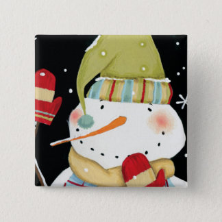 Modern Snowmen with Mittens 15 Cm Square Badge