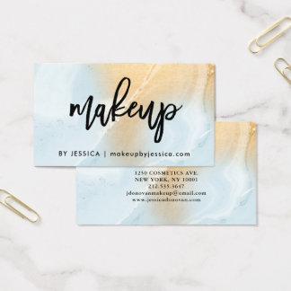 Modern Soft Blue and Faux Gold Marble | Makeup Business Card