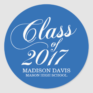 Modern Solid Blue | Graduation Stickers