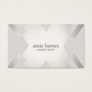 Modern Sophisticated Silver & Gray Geometric Chic Business Card
