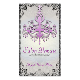 Modern Sophisticated Silver Purple Designer Salon Pack Of Standard Business Cards