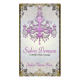 Modern Sophisticated Silver Purple Gold Salon Pack Of Standard Business Cards
