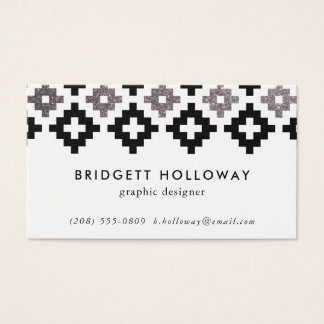 Modern Southwest Blanket Black Faux Silver Glitter Business Card