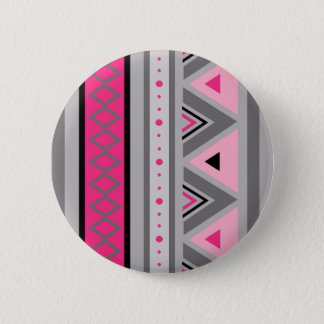 Modern Southwestern Geometric, Pink and Gray 6 Cm Round Badge