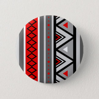 Modern Southwestern Geometric, Red & Gray / Grey 6 Cm Round Badge