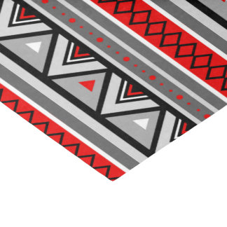 Modern Southwestern Geometric, Red & Gray / Grey Tissue Paper
