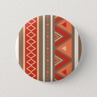Modern Southwestern Geometric, Taupe & Orange 6 Cm Round Badge