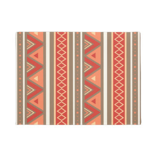 Modern Southwestern Geometric, Taupe & Orange Doormat