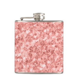 Modern Sparkle Rose Gold Glitter Hip Flask