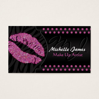 Modern Sparkling Zebra Monogram Make Up Artist Business Card
