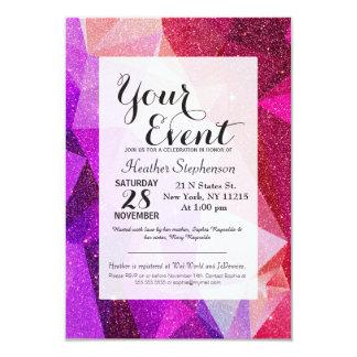 Modern Sparkly Faux Glitter Geometric Triangles 9 Cm X 13 Cm Invitation Card