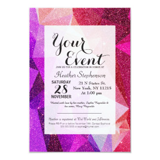 Modern Sparkly Faux Glitter Geometric Triangles Card