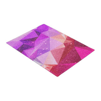 Modern Sparkly Faux Glitter Geometric Triangles Doormat
