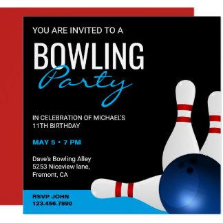 Modern Sporty Bowling Party Birthday Invitation