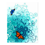Modern Spring Blue Floral Swirls Postcard