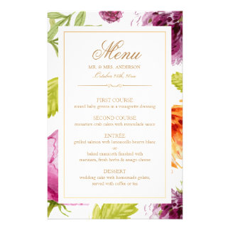 Modern Spring Floral Easy Edit Wedding Dinner Menu