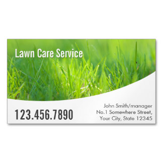 Modern Spring Green Lawn Care Magnetic Business Cards