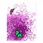 Modern Spring Pink Floral Swirls Postcard