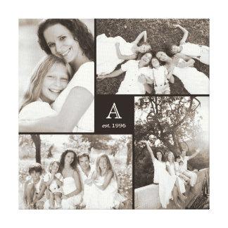 Modern Square Family Monogram Photo Collage Canvas
