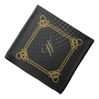 Modern Square Monogram on Black Circular Bandana