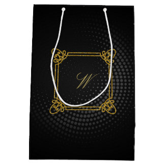 Modern Square Monogram on Black Circular Medium Gift Bag