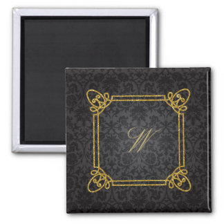 Modern Square Monogram on Black Damask Magnet