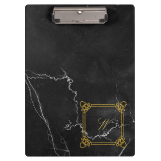 Modern Square Monogram on Black Marble Clipboard