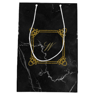 Modern Square Monogram on Black Marble Medium Gift Bag