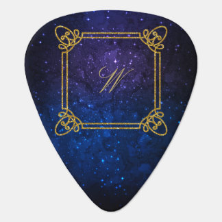 Modern Square Monogram on Blue Galaxy Plectrum