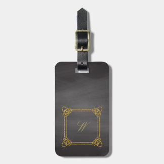 Modern Square Monogram on Chalkboard Luggage Tag