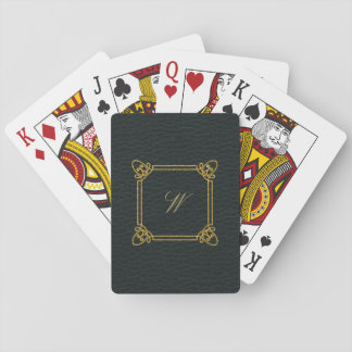 Modern Square Monogram on Dark Leather Playing Cards