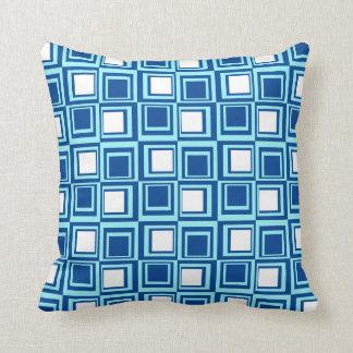 Modern squares, light and dark indigo with white cushion