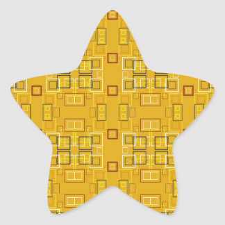 Modern squares mosaic pattern yellow star sticker