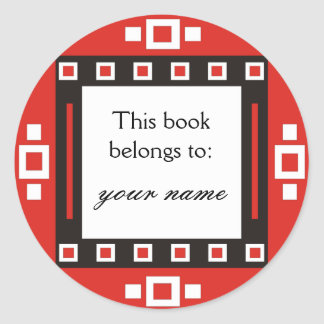 Modern Squares Personalized Bookplates Round Sticker