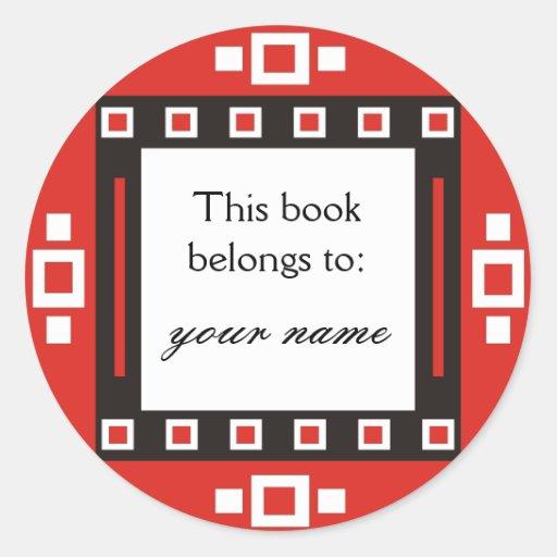 Modern Squares Personalized Bookplates Round Sticker