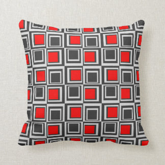 Modern squares, red, grey and black throw pillow