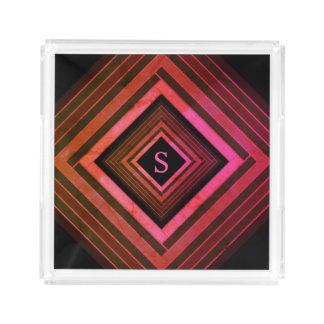 Modern Squares Rustic Pink Geometric Monogram Acrylic Tray