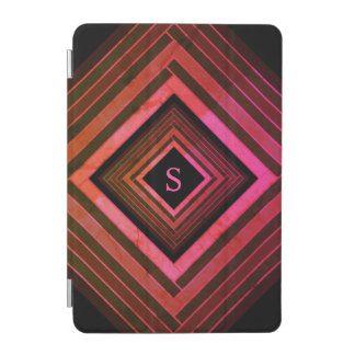 Modern Squares Rustic Pink Geometric Monogram iPad Mini Cover