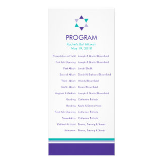 Modern Star Bat Mitzvah Program Full Colour Rack Card